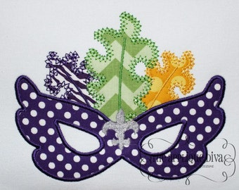 Mardi Gras Mask Fler De Lis Embroidery Design Machine Applique