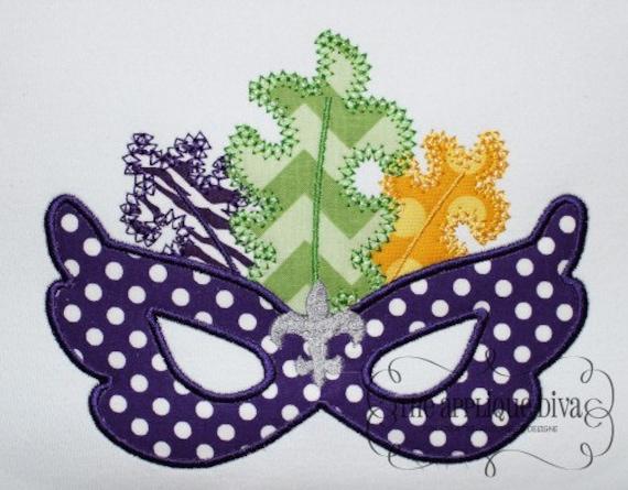 mardi gras mask fler de lis embroidery design machine applique. Black Bedroom Furniture Sets. Home Design Ideas