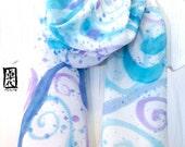 Hand Painted Silk Scarf, ETSY, Large Blue Silk Scarf, Kauai Kealia Ocean Scarf, Silk Scarves Takuyo, Made in the USA, 15x60 inches