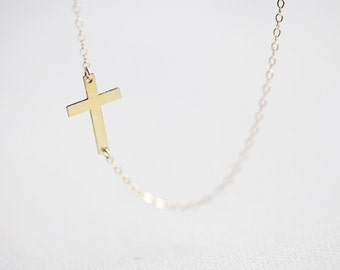 Sideways Cross Necklace - gold side cross pendant 14k gold filled jewelry