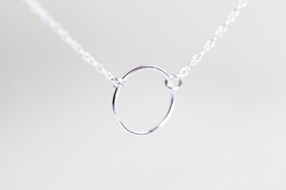 Silver Circle Necklace - sterling silver small circle necklace, delicate and minimalist jewelry
