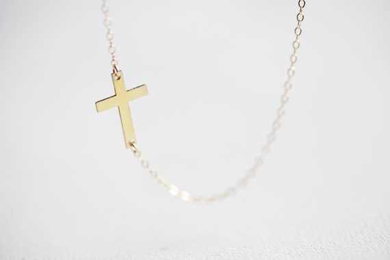 Sideways Cross Necklace - gold side cross pendant 14k gold filled jewelry