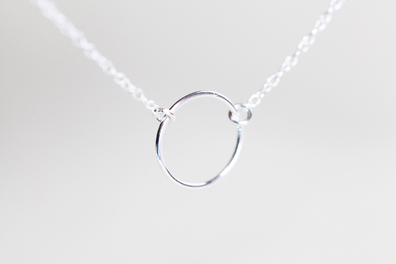 silver circle necklace sterling silver small circle