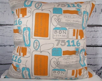 French travel pillow - Bon Voyage/airmail print with luggage/travel tags - Cotton pillow - Pillow Insert Sold Separately