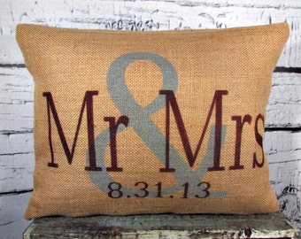 Mr & Mrs burlap personalized pillow cover in light gray and black  plum - Pillow Insert Sold Separately