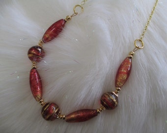 Venetian Bead Necklace in Gold and Fiery Copper