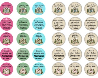 Home Sweet Home, Sayings, Bottle Cap Images, Digital Download, 1 Inch Circle, Printable, Collage Sheet, (No.1) Instant Download