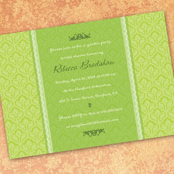 bridal shower invitations, lime damask bridal shower invitations, pea green party invitation, lime damask graduation invitations, IN185