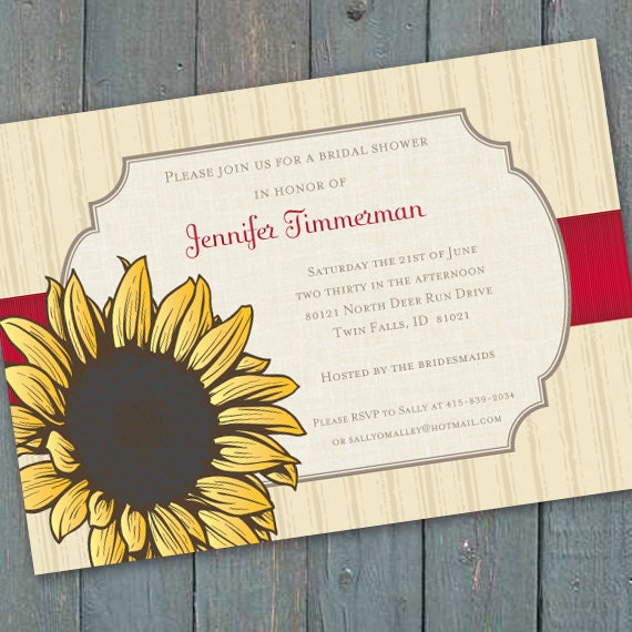 bridal shower invitations, 16th birthday party, sunflower bridal shower, sunflower invitations, sunflower birthday party, IN203