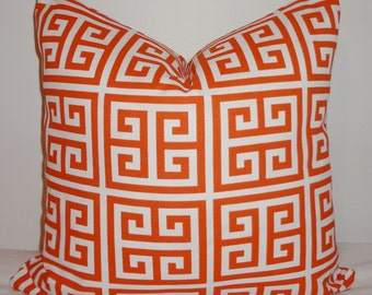 OUTDOOR Orange & White Greek Key Pillow Cushion Covers Porch Pillows 18x18