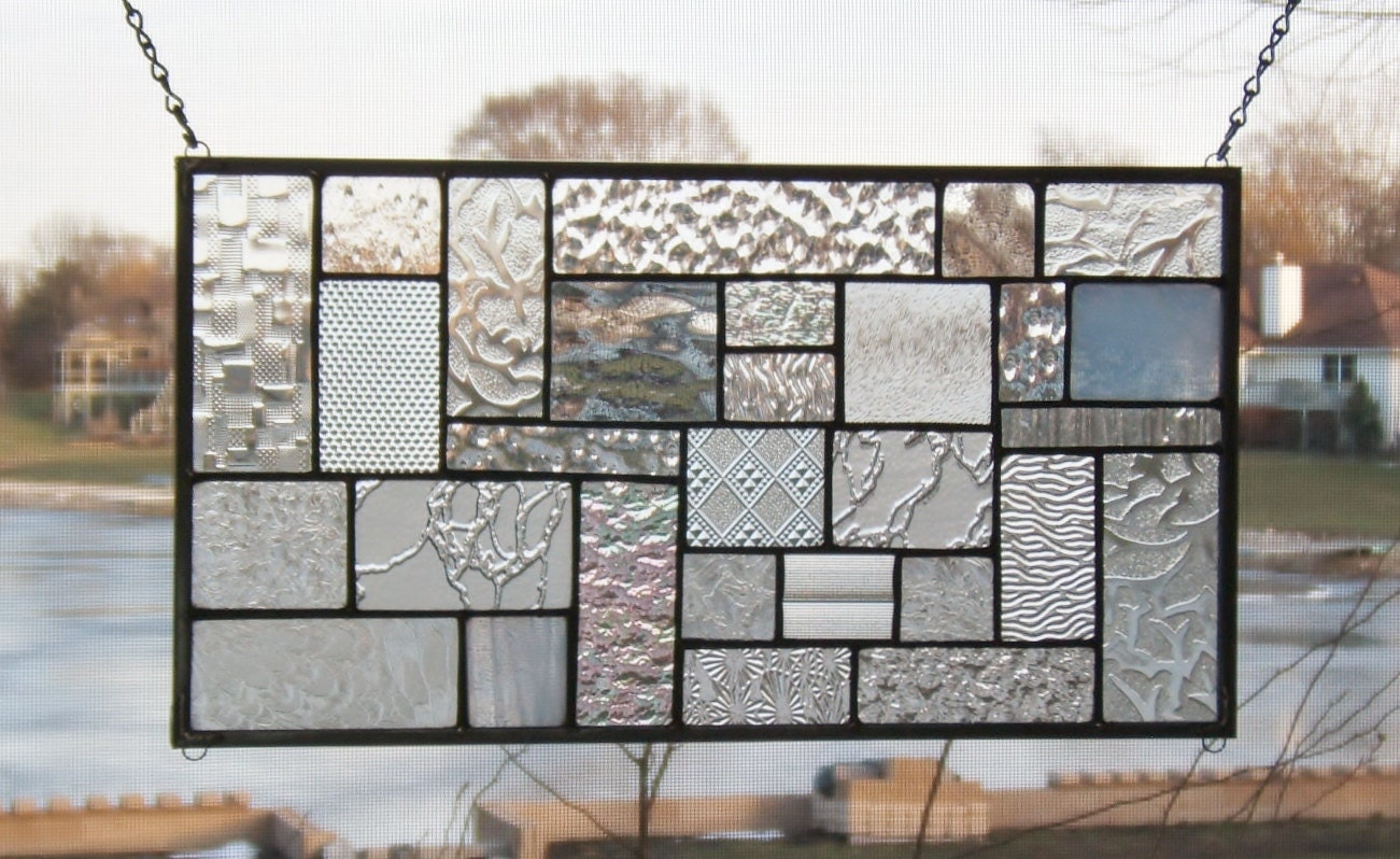 Clear stained glass panel window geometric abstract stained for 15 panel beveled glass door