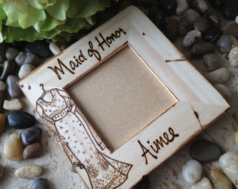 Hindu Bridesmaids Gifts SET of 5 Wood Frames with YOUR Sari Replicated Personalized Custom Frames for your Bridal Party Indian Wedding