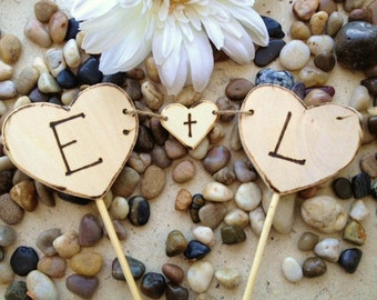 Wood Heart Cake Toppers with Carved Initials - Perfect Banner for Weddings Engagement or Anniversary Parties Rustic Cottage Chic 3PC set