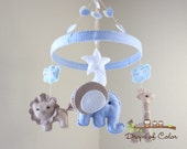 """Baby Crib Mobile - Baby Mobile - Nursery Elephant Giraffe Mobile """"Jungle in the Circle Mobile"""" (You can pick your colors)"""