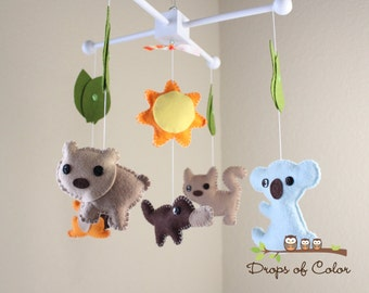 "Baby Crib Mobile - Baby Mobile - Nursery Australian Crib Mobile ""Little Creatures from Australia"" (You Can Pick Your Colors)"