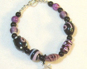 Lavender and Black Lampwork Beaded Bracelet
