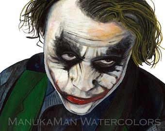 The joker (watercolor portrait of Heath Ledger) by Damon Crook (sized for 11 x 14 frame)