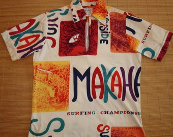 Mens Vintage 60s Makaha Surfing Kahanamoku Hawaiian Aloha Shirt - S - The Hana Shirt Co