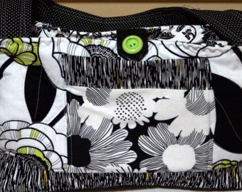 Mini bow tuck black, white & lime green purse