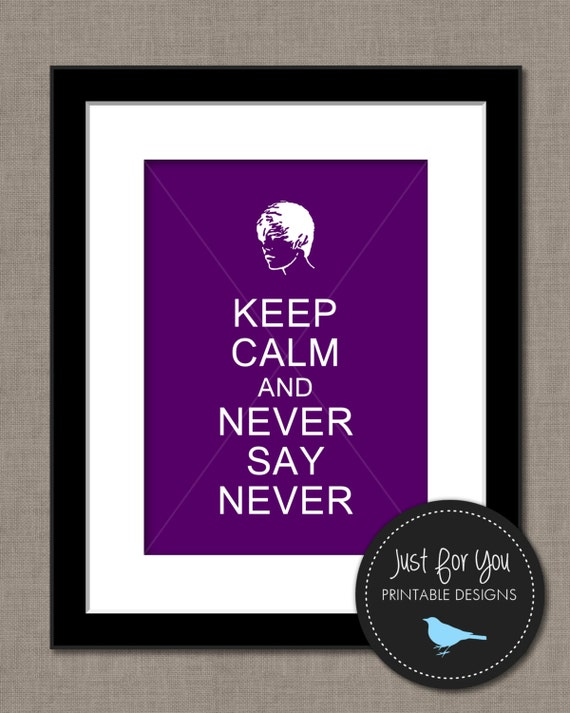 Justin Bieber Inspired Wall Art - Keep Calm and Never Say Never - YOU PRINT (Digital File) 8x10 Print Sign Poster