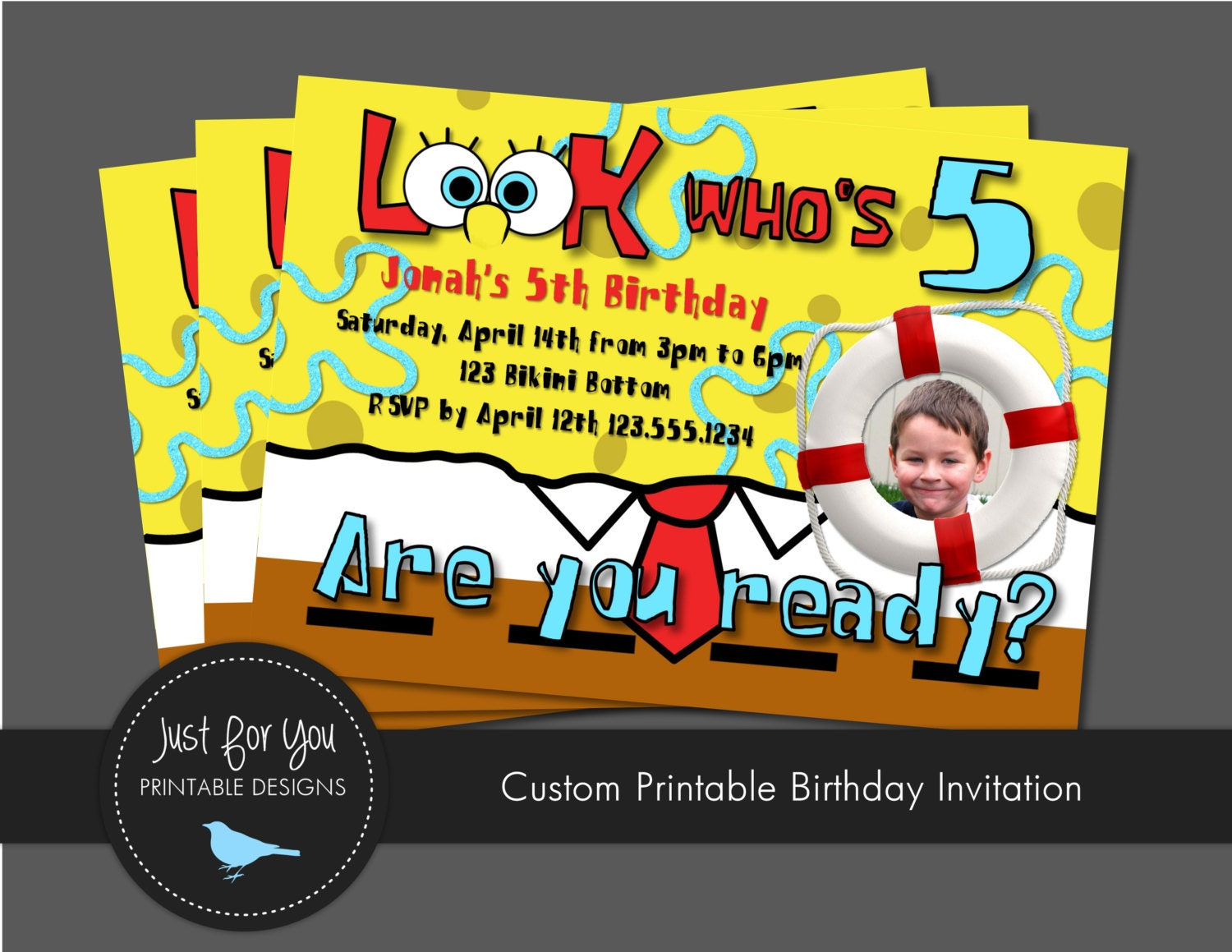 spongebob squarepants inspired birthday invitation you print, party invitations