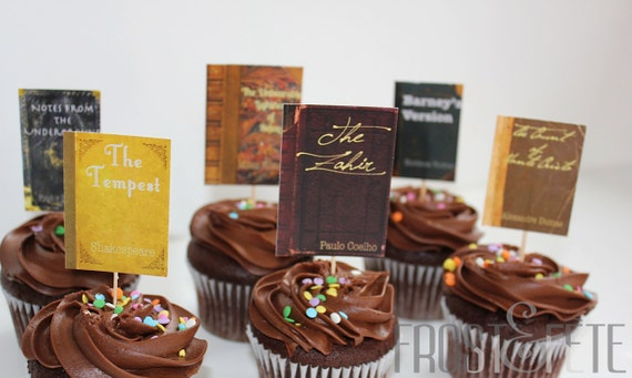 Printable digital file for literature lovers' book club cupcake toppers