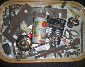 RUSTY GOLD LOT -  Very Old Rusted / Patina Items - Vintage Hardware - Found Object Assemblage, Mixed Media Art, and More - Over 70 Pieces