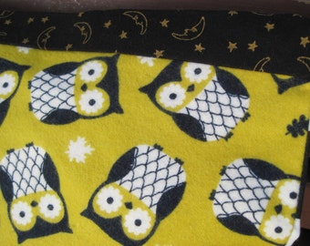"""14"""" x 14"""" PILLOW COVER -   Woodland Owls on Soft Citron Green Flannel with Racing Squares Classic Black and White"""
