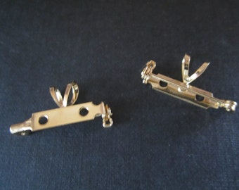 Brooch Or Pin To Necklace Converter Gold Plated Brass 2Pcs.