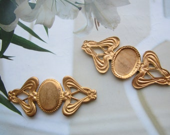Vintage Nouveau Style Brass Stampings For Ring,Necklace Or Watch Fob Decor 2Pc.