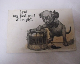 antique Phillips comic postcard bull dog stepping in paint 1914