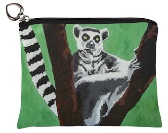 Lemur Change Purse, Lemur  Coin Purse - From my Original Oil Painting - Ring Tailed Lemur
