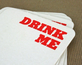 Drink Me Letterpress Pub Coasters - Set of 4