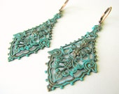 Copper Patina Chandelier Earrings - Turquoise Patina on Copper Filigree Earrings