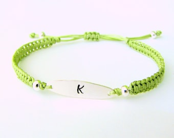 Personalized Inital Bracelet with Silver Charm and Peridot Thread