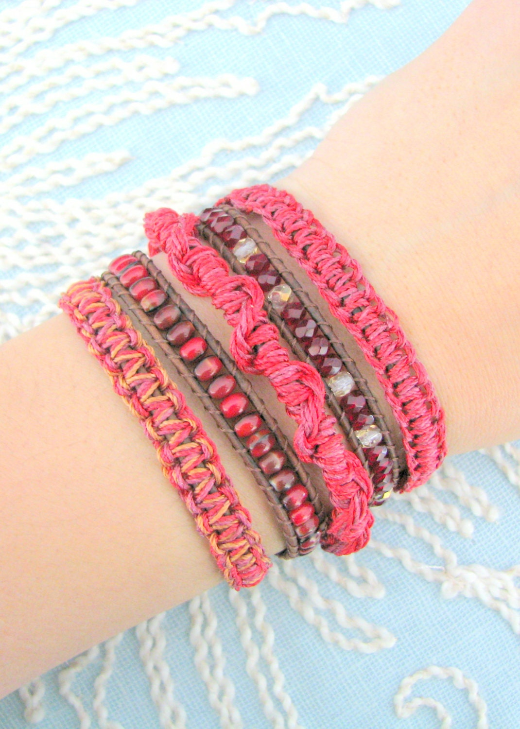 macrame wrap macrame wrap bracelet with and gold button clasp 8313