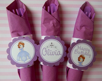 12 Sofia Birthday Party Paper Napkin Rings in Purple and Pink