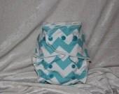 """Cheeky Cloth One Size Organic Bamboo AI2 Diaper """"Aqua Chevy"""""""