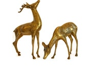 Mid Century Brass Deer Large Buck and Doe Hollywood Regency Home Decor