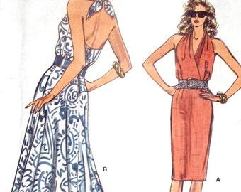 Halter Dress sundress sewing pattern marilyn monroe style prom evening gown beach resort vintage 80s 1980s Vogue 9828 women 6 8 10