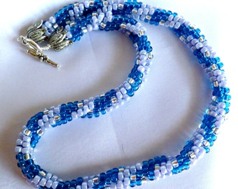 Beaded Kumihimo necklace, blue swirl
