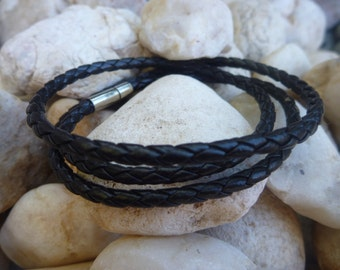 Leather Bracelet.Black Wrap Leather Bracelet/Necklace.Stainless Steel.Unisex.