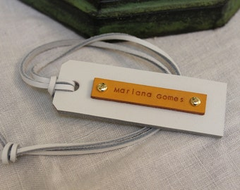 White Leather Name Tag - (1 Tag)  - with the name on tan leather - Perfect Gift for Birthday, Wedding or Anniversary