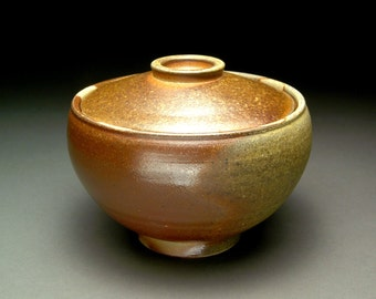 Wood Fired Lidded Bowl with Warm Browns and Grays and Shino Liner