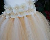 Flower girl dress. Ivory and Champagne Vintage.vintage dress. Ivory dress. clothing. baby tutu dress, toddler tutu dress, wedding, birthday,