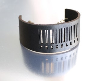 leather cufff- Slim Barcode Cuff in Black - Priceless, adjustable size with gumetal chain. modern jewelry, black leather, fall fashion gifts