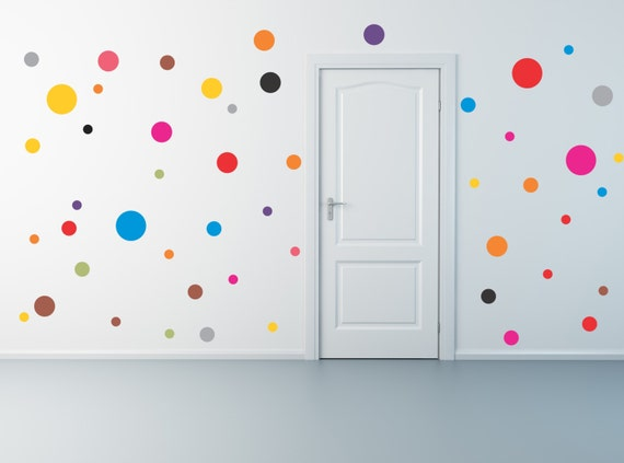 50 polka dot wall decals for Polka dot wall decals for kids rooms