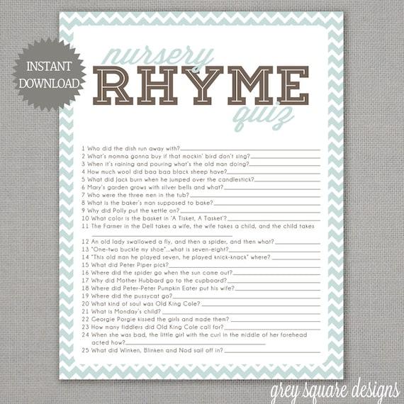 Nursery Rhyme Quiz Baby Shower Game Light Blue by GreySquare