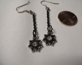 Earrings Long Small Black Chain with a Starburst Dangle Black and White, Long Black Earrings, Prom Jewelry by Cindydidit OOAK