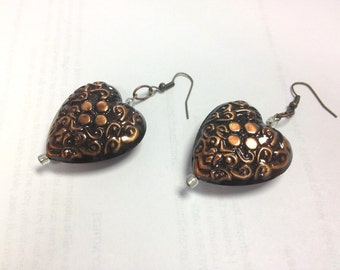 Earrings Heart Large Puffy Copper Metal Chunky Dangle, Large Chunky Jewelry, Cooper Jewelry, Jewelry   Ofor Teens by CindyDidit OAK